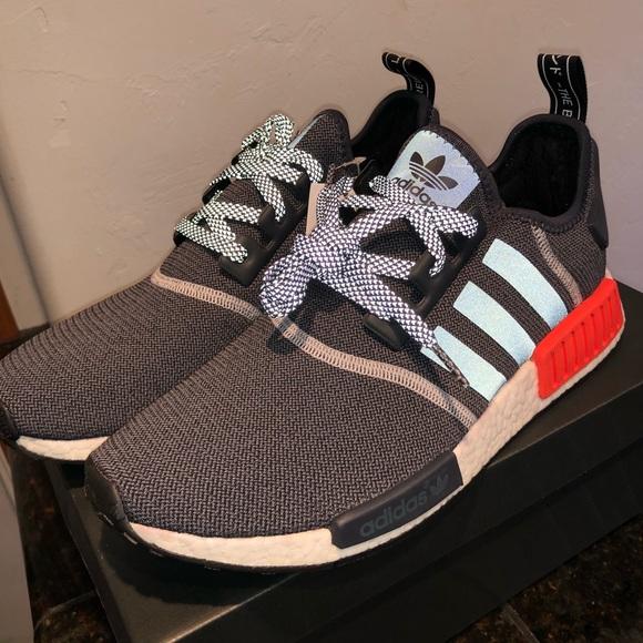 a019f3884 Adidas NMD R1 S31510 Wool Grey Solar Red
